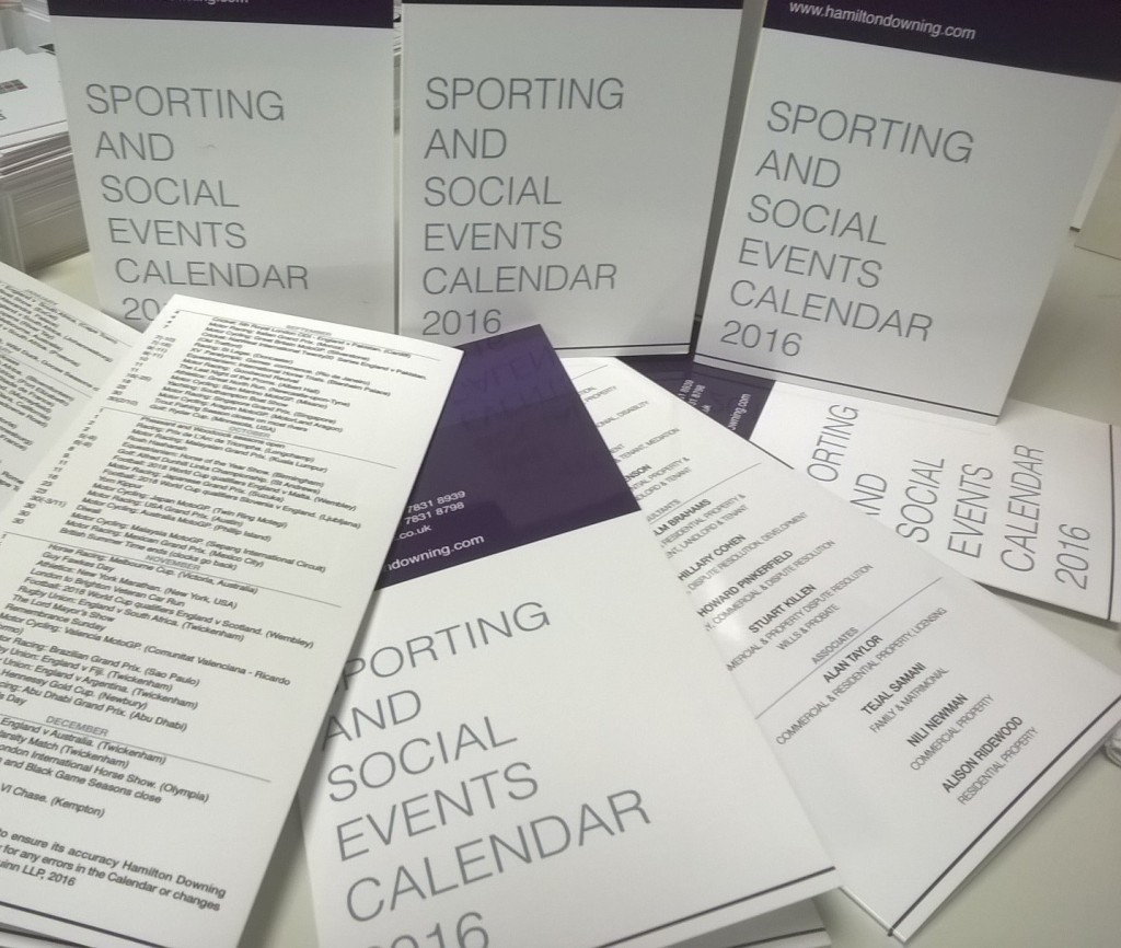 Sporting calendar by Solways Quality Printers London
