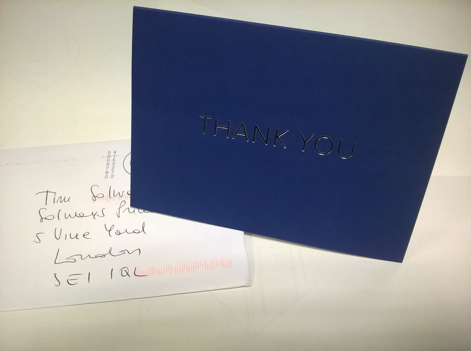 A thank you note from Solways Quality Printing London