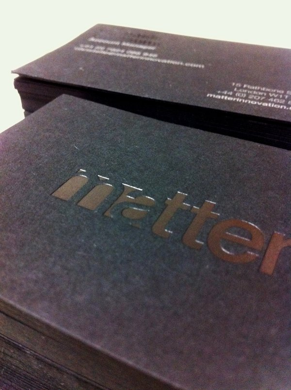 Matter Business Cards | Clear Gloss Black Foil - GF Smith Ebony Paper | Solways Printers Quality Printing London